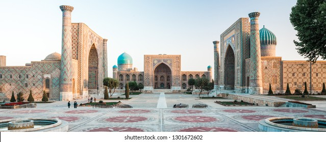 Panorama of Registan square in the city of Samarkand at sunrise, Uzbekistan