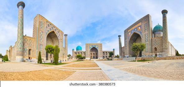 Panorama Registan Square with three madrasahs in Samarkand.