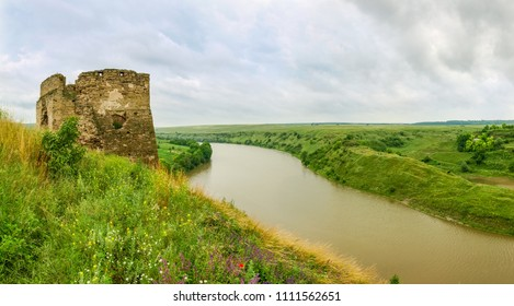 Panorama of remains of medieval castle built in the 15th century in Zhvanets. North riverside stone tower on river bank, Khmelnytskyi Oblast, Ukraine