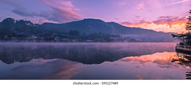 Panorama , Reservoir at the Sunrise time , Locations Rak Thai village , Mae Hong Son province , Thailand