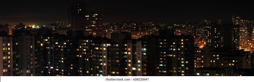 Panorama residential area in Kiev - the capital of Ukraine. Night in the city. Old houses. Flats.