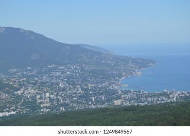 Panorama of the resort city of Yalta from AI-Petri mountain, Russia, Crimea, 01.06.2018
