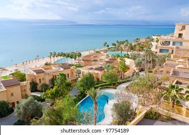 panorama of resort on Dead Sea coast, Jordan