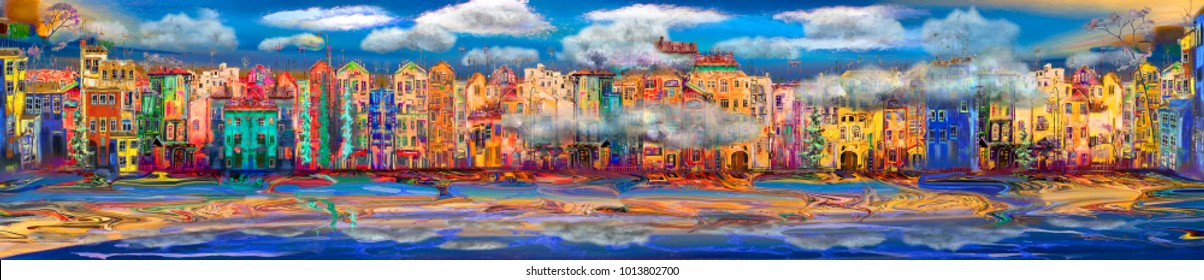 Panorama of resort town near the sea with clouds