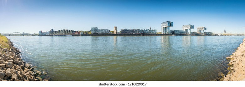 Panorama of Rheinau Harbour in Cologne