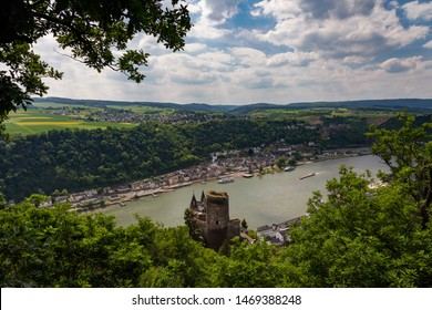Panorama of the Rhine River Valley with Castle Katz, Germany