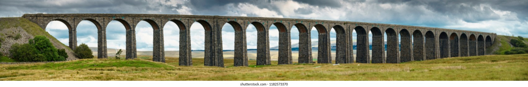 Panorama of Ribblehead Viaduct carrying the Settle to Carlisle railway line across the Ribble Valley, Yorkshire Dales,UK. It is 400m long and 32 m high and was completed in 1875