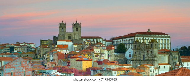 Panorama of Ribeira - the Old Town of Porto. Portugal