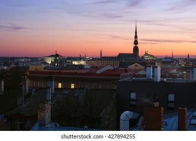 Panorama of Riga during the sunset, Latvia