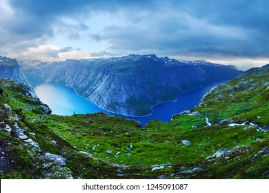 Panorama of Ringedalsvatnet lake near Trolltunga rock - most spectacular and famous scenic cliff in Norway