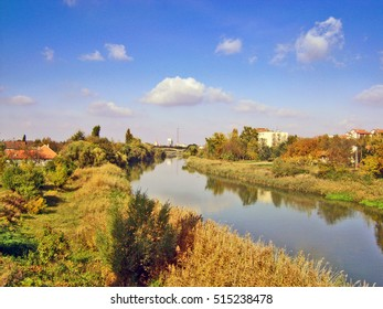 Panorama of the river and the city of Zrenjanin.