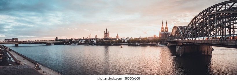 panorama of river at cologne - germany