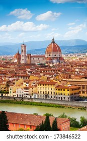 Panorama of the river and famous basilica in Florence, Italy