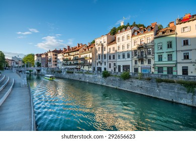 Panorama of river Ljubljanica, Ljubljana, Slovenia, Europe. Cityscape of the Slovenian capital Ljubljana.