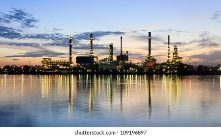 PANORAMA River and oil refinery factory with reflection in Bangkok, Thailand.