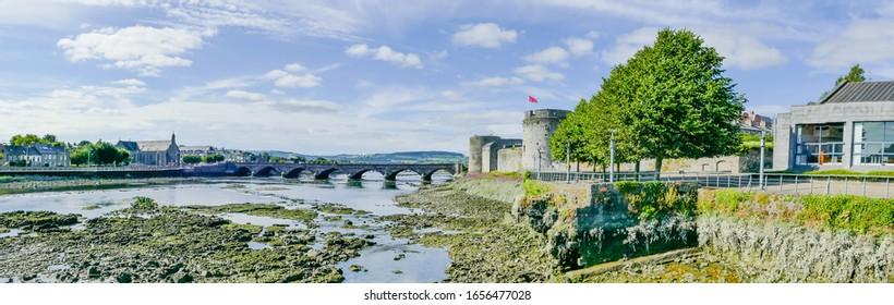 Panorama River Shannon and Bridge Limerick Ireland