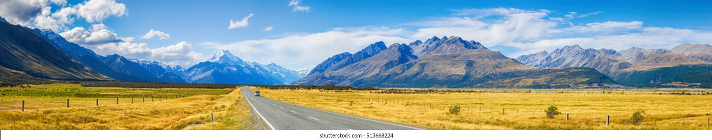 Panorama Road leading to Aoraki Mount Cook National Park at South Island New Zealand, Summertime