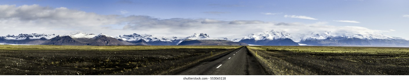Panorama of road and Skaftafell National Park. Mountains in Iceland.