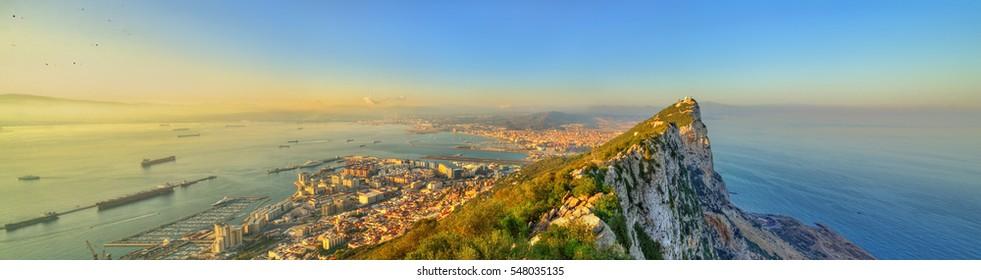 Panorama of the Rock of Gibraltar, a British overseas territory