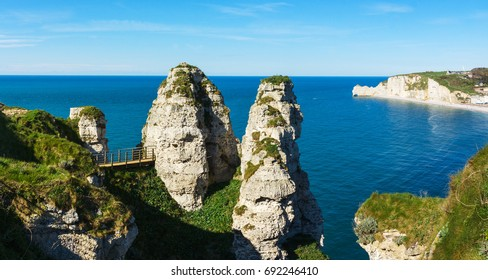 Panorama of rocks near Etretat, Normandy, France, Europe