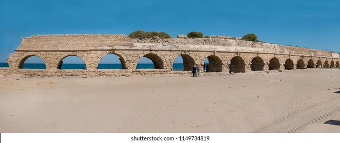 Panorama of Roman aqueduct of Caesarea near Hadera, Israel.  Built by King Herod in the first century in brought water 10 km from the Shummi springs.