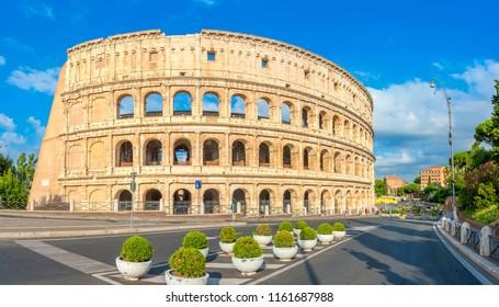 Panorama of the Roman Colosseum, Italy. Europe