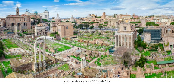 panorama of Roman Forum ruins in Rome city, Italy