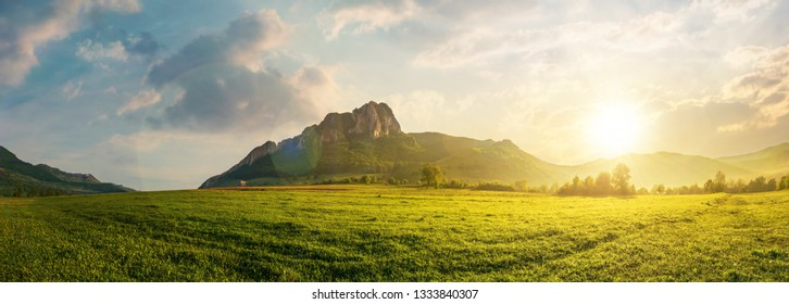 panorama of romania countryside at sunset in evening light. beautiful scenery with trees in haze on a grassy field. huge rocky cliff above the forested hill in the distance. discover romania