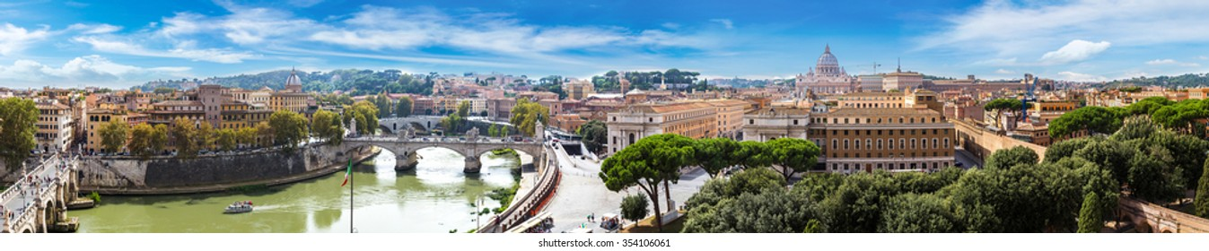Panorama of Rome and Basilica of St. Peter in a summer day in Vatican