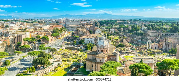 Panorama of Rome with the Colosseum and the Roman Forum