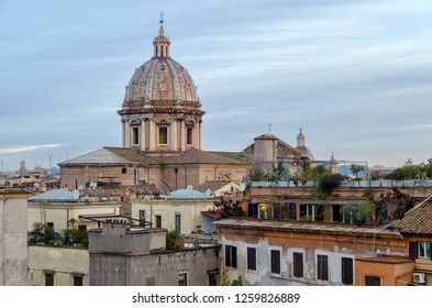 Panorama of Rome and view at Basilica Sant'Andrea della Valle. Italy