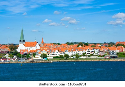 Panorama of Ronne town from the harbor, St Nicolas Church on the left, Bornholm, Denmark