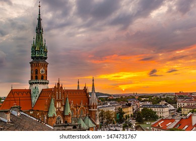 Panorama from the roof, Cracow, st Joseph Church