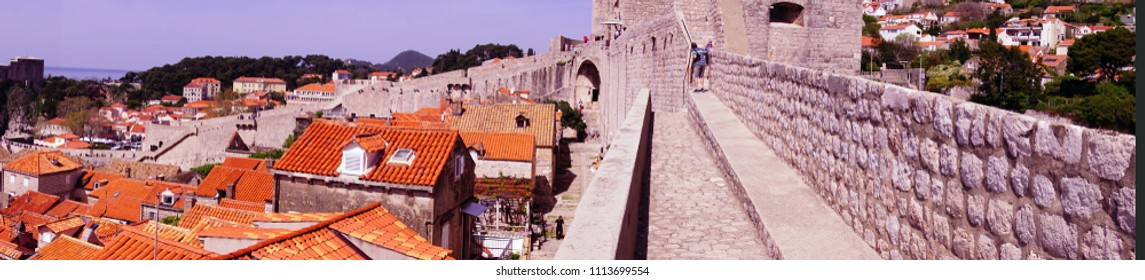 Panorama of roofops and old city from the medieval walls of  Dubrovnik, Croatia
