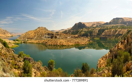 Panorama of Roosevelt Lake Created by the Grand Coulee Dam in the State of Washington