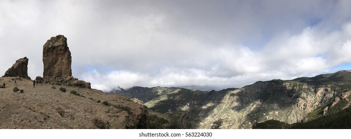 Panorama from the Roque Nublo a volcanic rock on the island of Gran Canaria