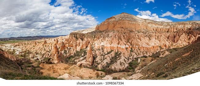 Panorama of Rose valley near Goreme, Turkey