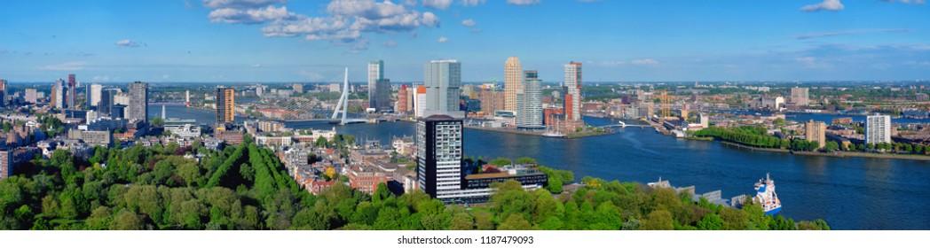 Panorama of Rotterdam city and the Erasmus bridge Erasmusbrug over Nieuwe Maas river from Euromast