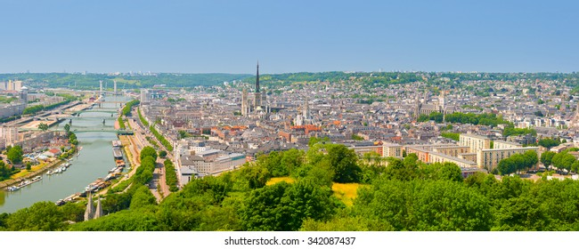 Panorama of Rouen at a summer day