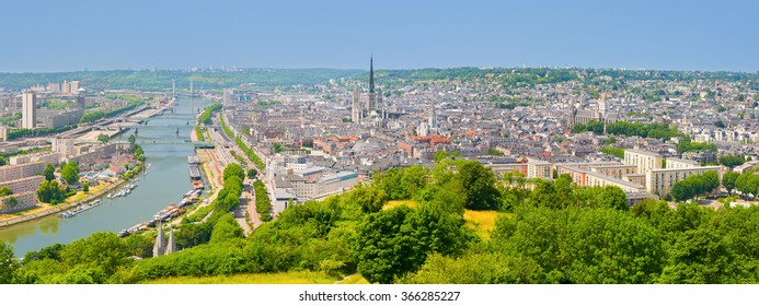Panorama of Rouen in a summer day