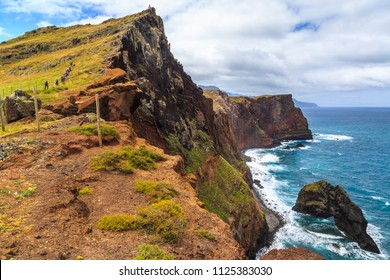 Panorama of rough coastline in Portugal, Madeira, nature reserve Ponta de Sao Lourenco, peninsula on the east coast
