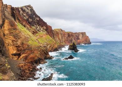 Panorama of rough coastline in Portugal, Madeira, nature reserve Ponta de Sao Lourenco, peninsula on the east coast