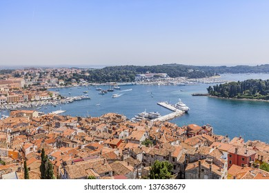 Panorama Rovinj, made from the bell tower of the Eufemije cathedral. Istra, Croatia, Europe