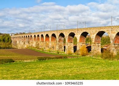 Panorama of the Royal Border Railway Bridge Berwick upon Tweed, Northumbria, England.