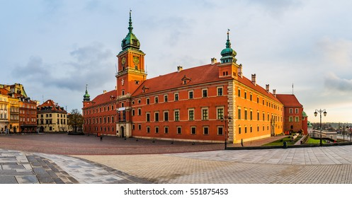 Panorama of Royal Castle in Warsaw, Poland is castle residency and was official residence of Polish monarchs. It is located in Castle Square, at entrance to Warsaw Old Town.