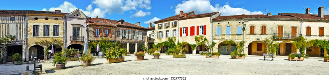 Panorama of Royal square of Labastide d Armagnac fortified town, typical ancient bastide in Landes, Aquitaine, France