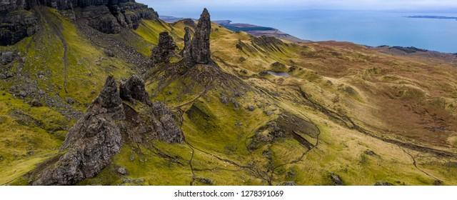 Panorama of rugged volcanic landscape around Old Man of Storr, Isle of Skye, Scotland