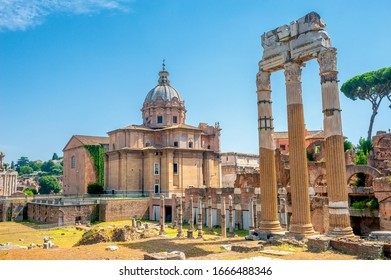 Panorama of the ruins of the ancient Roman forum, the most important place of ancient Rome. Antique architecture of Rome. above famous architectural landmark.