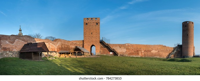 Panorama of the ruins the castle of dukes of Mazovia in Czersk, Poland