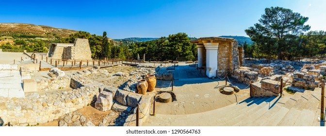 panorama of ruins of the Palace of Knossos on the island of Crete, Greece